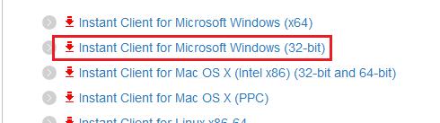 『Instant Client for Microsoft Windows (32-bit)』をクリック