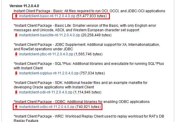 『Basic』と『ODBC』をダウンロード