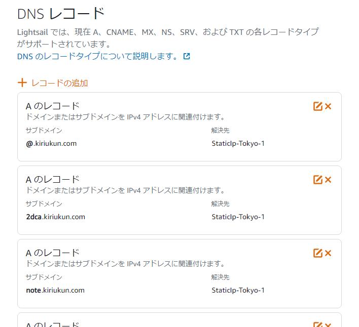 DNSゾーンのDNSレコード